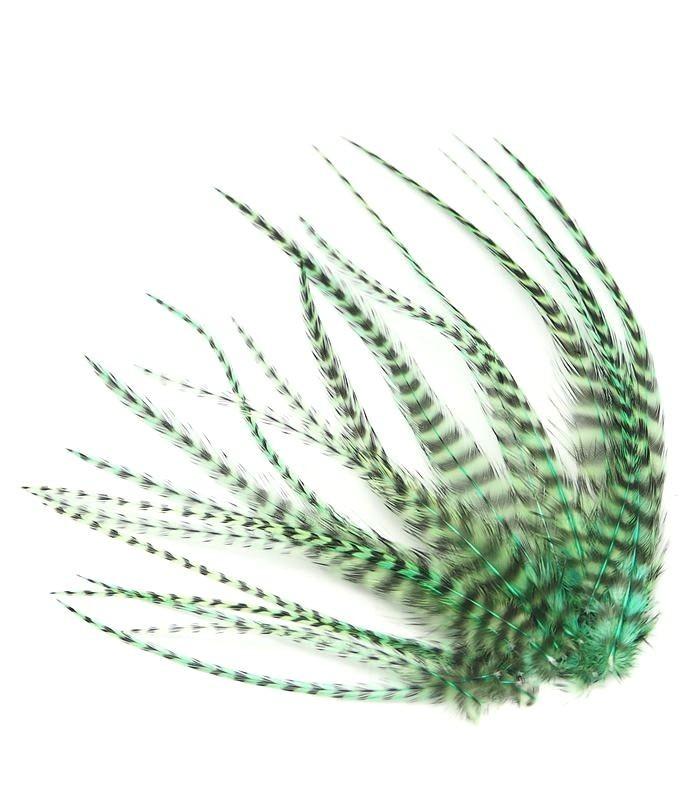 Vert aquatique - plumes courtes à fixer dans les cheveux