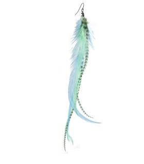 Boucle d'oreille unique double en plumes naturelles - Collection Lagon