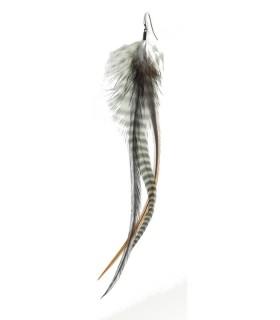 Boucle d'oreille unique en plumes naturelles - Collection Quid